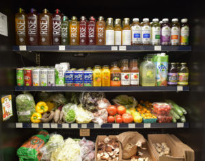 Produce Fridge with Drinks