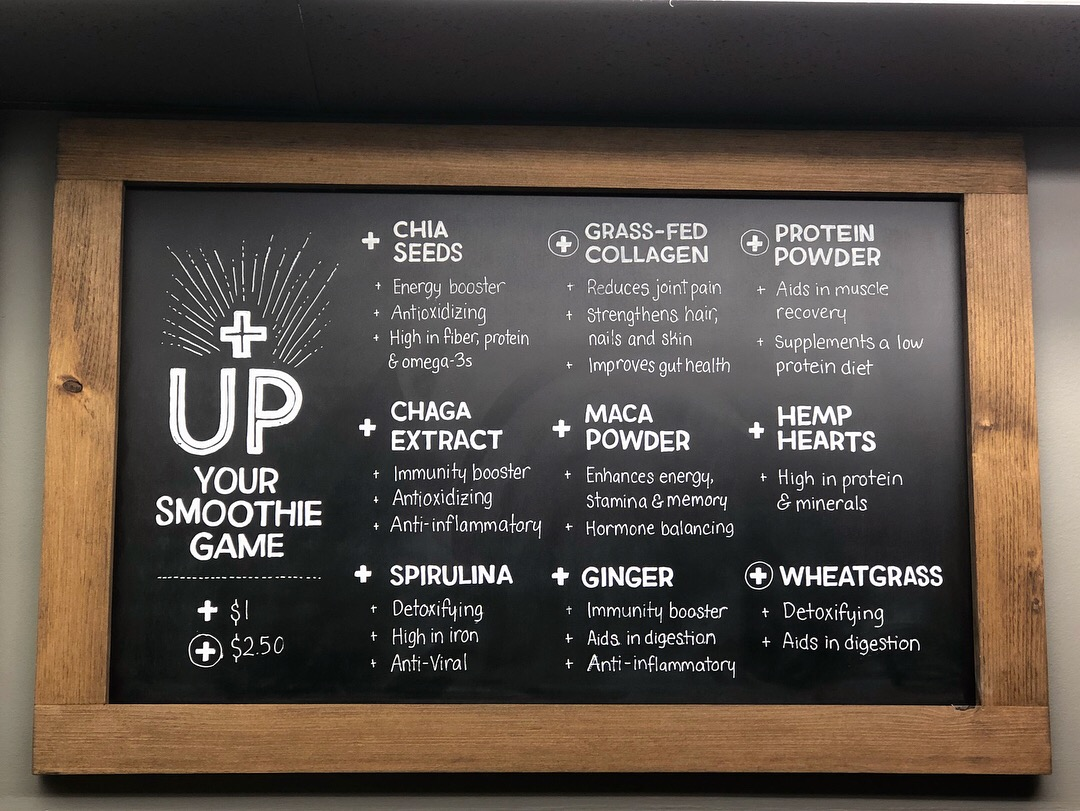 Smoothie Add-Ons Menu Board