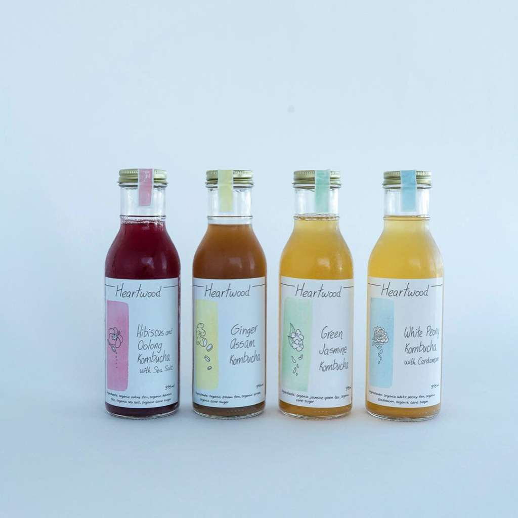 Heartwood Kombucha Flavours: Hibiscus and Oolong, Ginger Assam, Green Jasmine, White Peony